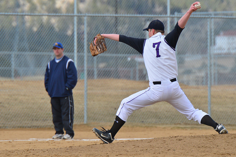 Cam Bogener winds up to pitch on Saturday. Bogener had 10 strike outs against Clear Creek in five innings.