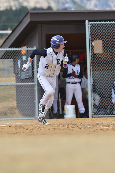 Adam Tulley heads up the first base line while watching his single make a flight to the left field on Saturday. The Bobcats took a home win against Clear Creek on Saturday, 16-3.