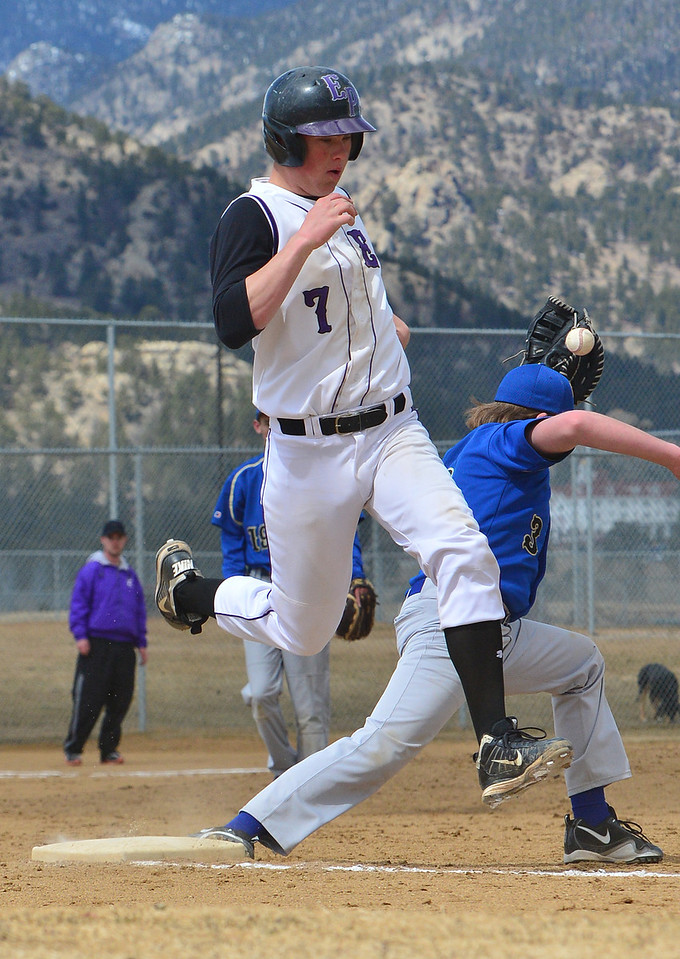 Cam Bogener reaches first on an error by the Clear Creek baseman. The Bobcats had their way with the visiting Golddiggers, scoring a 16-3 victory on Saturday.