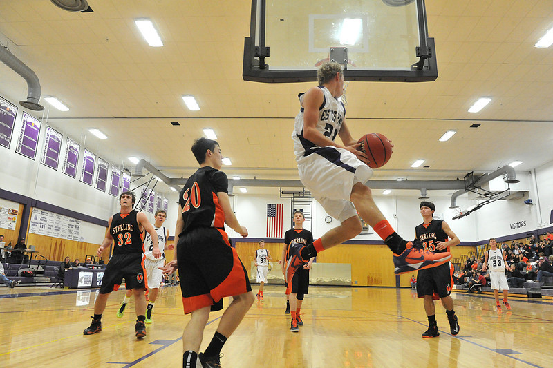 Andrew Cirone elevates while looking for temmates against the Sterling Tigers on Saturday.  The Bobcats came close but could not take down the Tigers, losing 49-43.