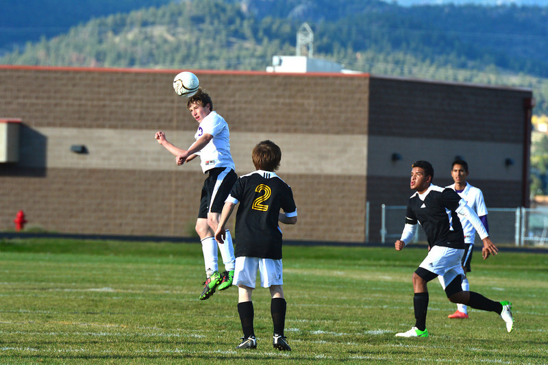 Zach Pierce gets his head on a ball in the second half against Valley on Thursday. The Bobcats defeated Valley 9-0.