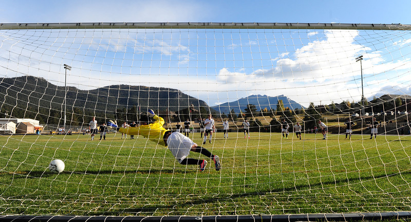 Zach Pierce scores a penalty kick after Valley's keeper was ejected for tripping Erick Dominguez on Thursday. The Bobcats defeated Valley 9-0.