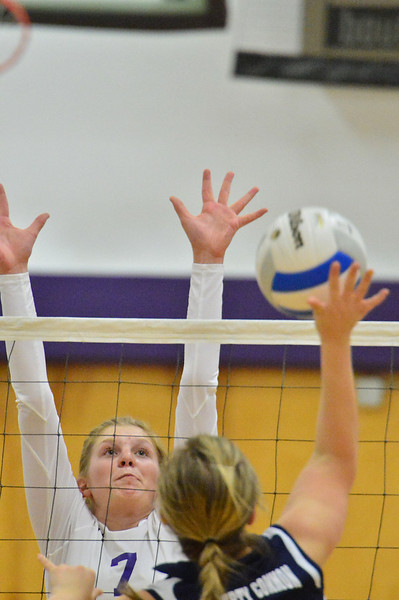 Ali Scheil goes for a block against Liberty Common earlier in the season. Scheil is coming back from a wrist injury and will be a factor in the Ladycats' Thursday night tilt against Brush.