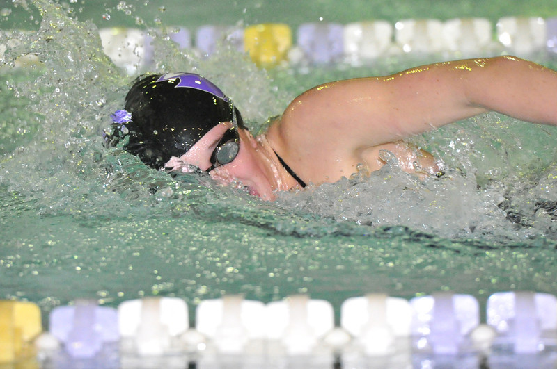 Kate Hewson swims the anchor leg of the crucial last event of Tuesday's dual with Skyline High School. Hewson and the Ladycats won the 400 yard freestyle relay and the meet.
