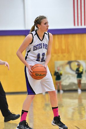 Senior Amanda Dill tries to spark her team on Friday. The girls began to make up ground against the 5-0 Buffs before Dill and tea mate Becky Reilly foulded out in the fourth quarter.