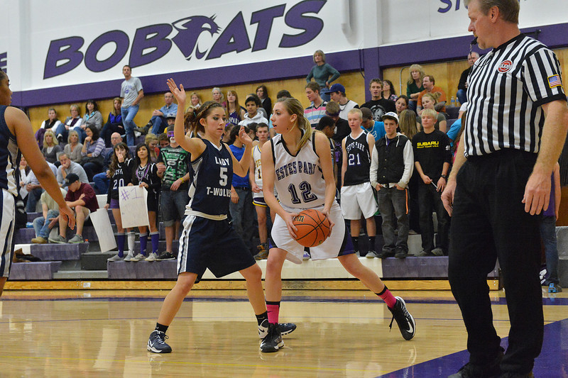 Amanda Dill looks for an outlet against The Pinnacle on Tuesday. Dill led the Ladycats to a 26-point ounding of the visiting Lady Timberwolves.