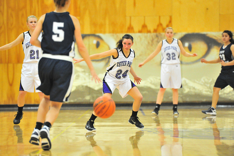 Estes Park's Bizzy Palmer is often the first line of defense for the Ladycats. Bizzy lives up to her nickname, flying around the court and diving for loose balls.