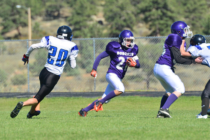 Senior Keith Trahan returns a kick against the Platte Canyon Huskies on Saturday. Trahan led the Bobcats in all-purpose yards with 73.