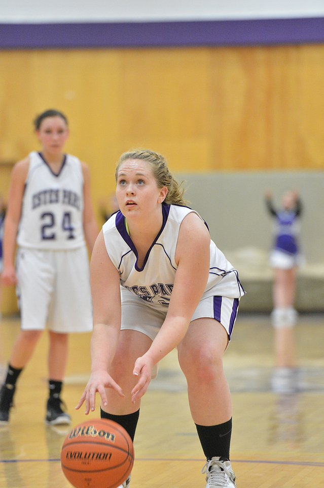 Kaitlin Thompson lines up her foul shot on Thursday against the Jefferson Academy Jaguars. The Jags handed the Ladycats their third loss of the season on Thursday.