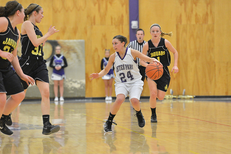 Bizzy Palmer drives up the floor against the Jefferson Academy on Thursday. The Ladycats fought back but could not make up their early deficit against the Jags, losing 50-45.