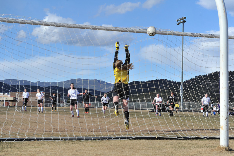 Logan Hays scores the second of two penalty kicks against the Valley Vikings on Friday. The Ladycats won on the power of the penalties, 2-1, to bring their record to 2-1-1.