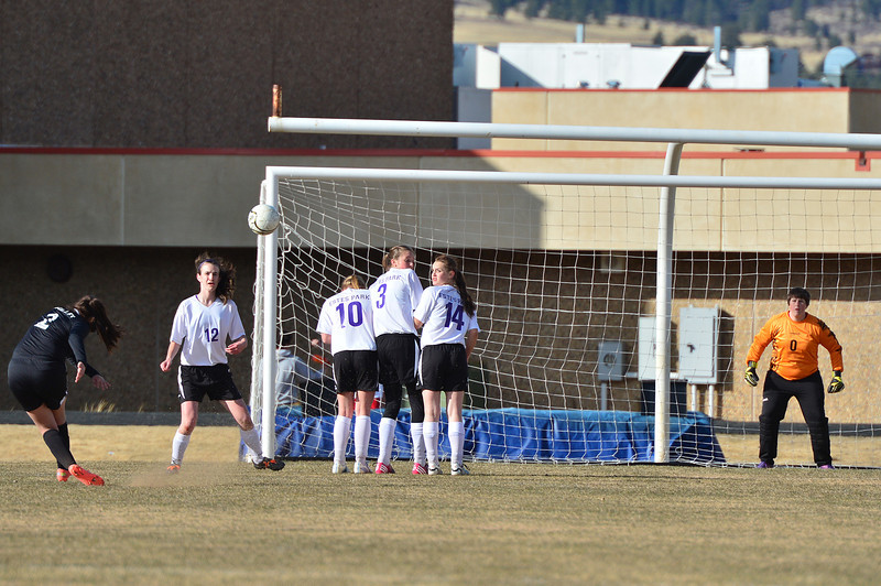 Valley's Angelica Fuentes takes a penalty kick while Estes Park's Logan Hays, Maddy Paul, Kate Hewson, Tricia Vic and goaltender Jennifer Zumdome defend on Friday. The Ladycats beat the Vikings 2-1.