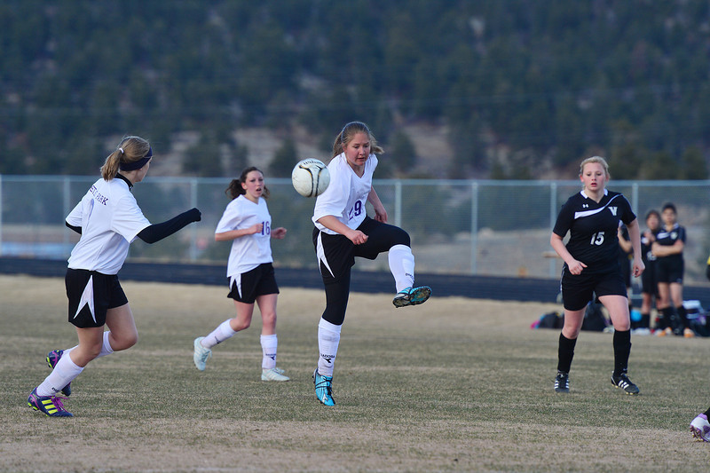 Abby Soliday passes off the ball against Valley on Friday. The Ladycats notched their second win of the season against the Vikings, 2-1.