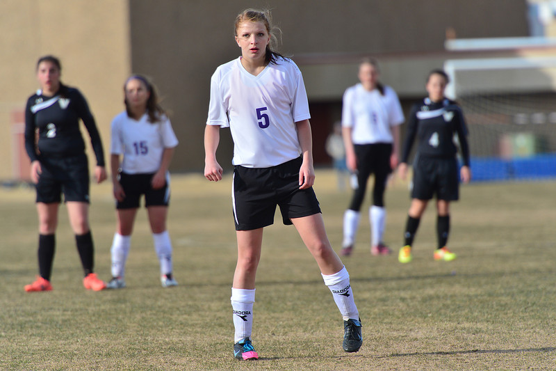 Senior forward Karin Kingswood stands as the fromtline against the Vikings on Friday. The Ladycats defeated the visiting Valley team 2-1.