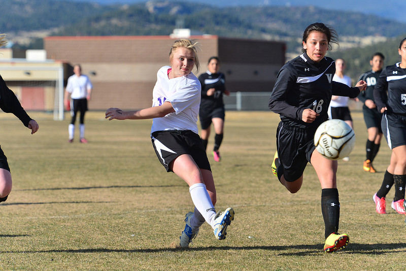 Maddy Paul shoots against the Valley Vikings on Friday. The Ladycats took the victory 2-1.