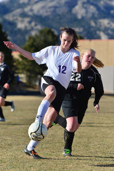 Logan Hays controls a ball against Valley on Friday. Hays scored both Ladycat goals for the 2-1 win.