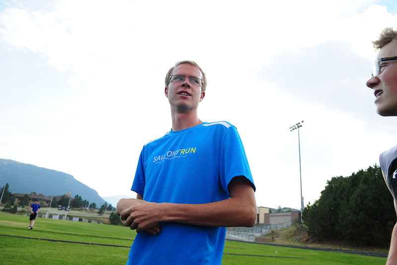 Walt Hester | Trail-Gazette<br /> Bobcat runner Jeff Switzer readies himself for the warmup run on Wednesday. Switzer led the Estes Park boys at the Liberty Bell Invitational in a time of 16:46.8.