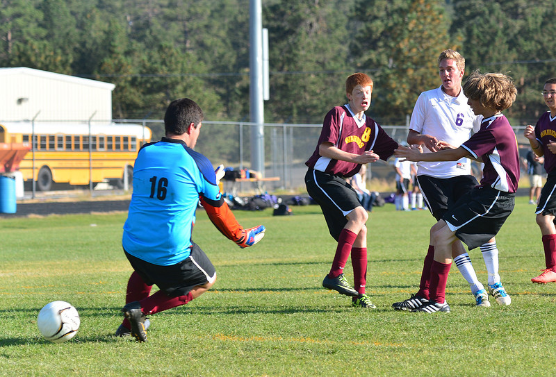 Walt Hester | Trail-Gazette<br /> Isaac Cirone scores the first of his two goals against Eagle Ridge on Tuesday. Isaac and brother Andrew accounted for five of the 'Cats' goals in the 10-0 drubbing of the visiting Warriors.