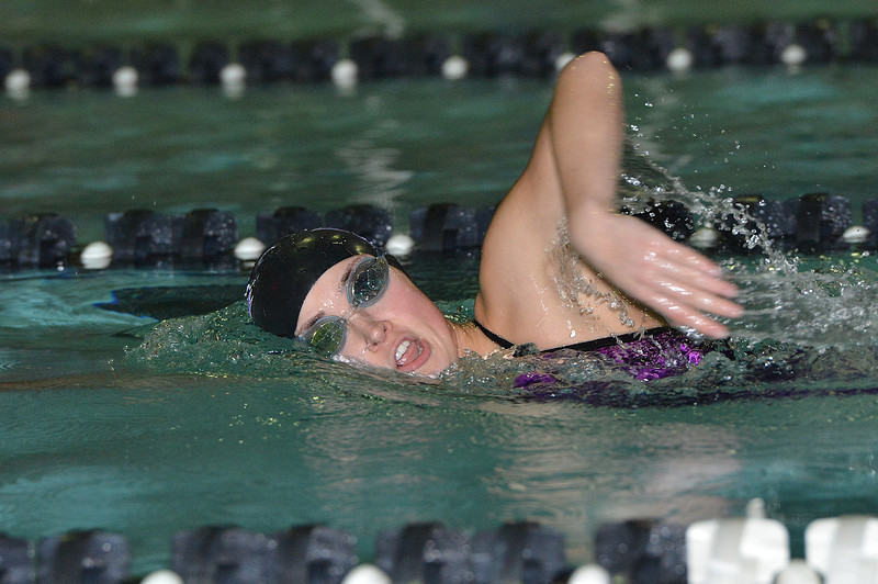 Eillie Ciezczak knocks nearly 9 seconds off of a previous best time in the 500-yard freestyle on Thursday. The Ladycats beat the Vikings handily, 124 - 66.
