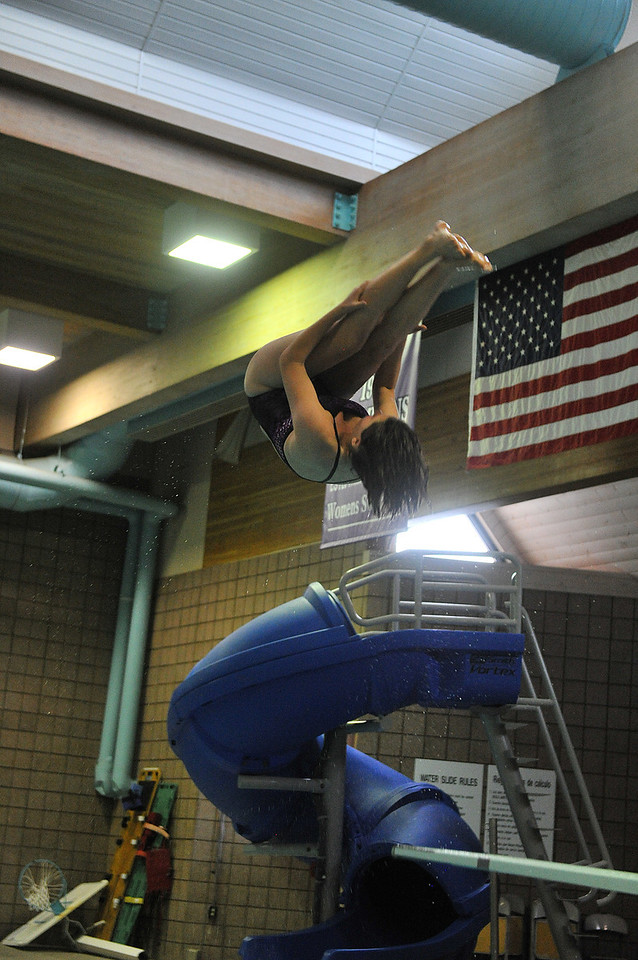 Senior diver Annabelle Westley dives against the Valley Vikings, taking first in the event, on Thursday. The Ladycats beat the Vikings handily, 124 - 66.