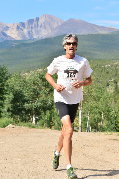 Steve Barker finishes his run on Sunday. Barker was second overall and the best-placed local at the first Aspen Climb trail run.