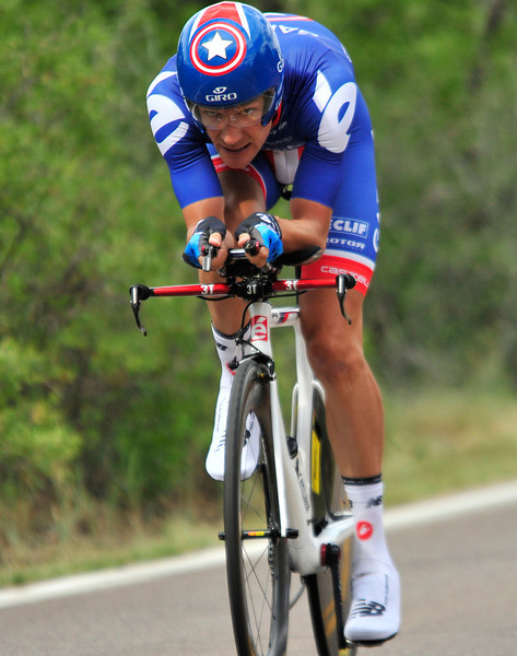 Captain America, Dave Zabriski, charges through a time trial in 2011. Dave Z has been US National Time Trial Champion on six different occasions.