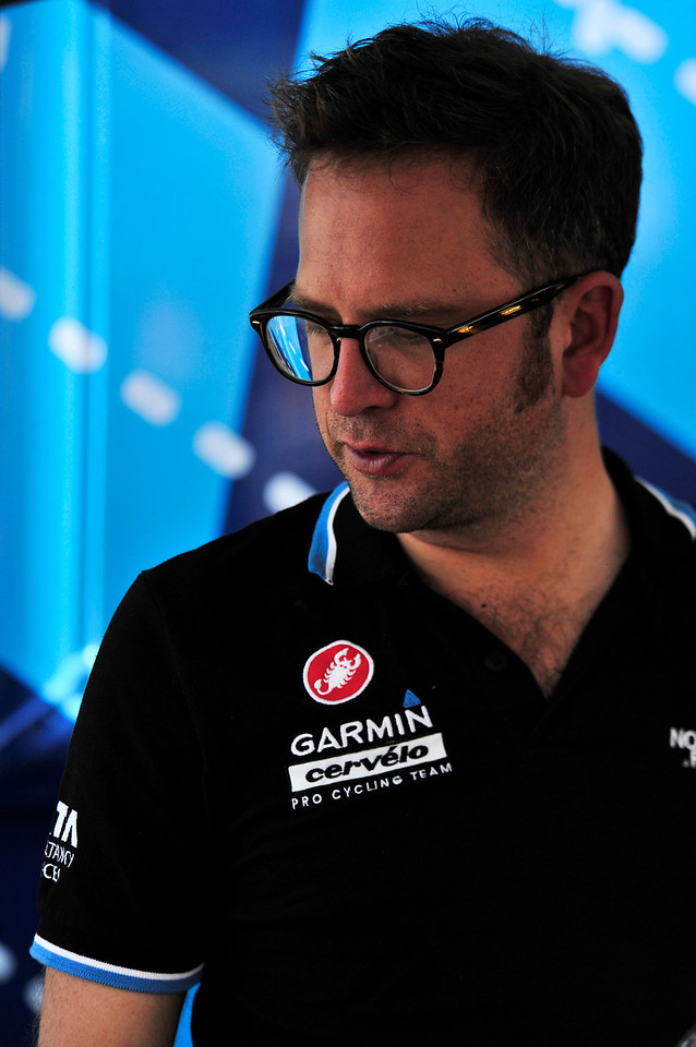 Denver native and Garmin-Sharp team owner Jonathan Vaoghters directs his team in 2011. Vaughters was inspired to lead his own top-shelf team to promote clean, drug-free racing afetr his pro experience inwhich he felt pressured to dope.