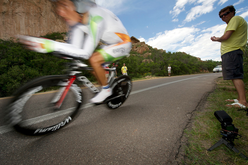 Fast Freddy Rodriquez flies through a curve on the Garden of the Gods prologue course in 2011. Rodriguez will be wearing the stars and stripes of US Nation Road Champion when he returns to the USAPCC with his new team, Jelly Belly.