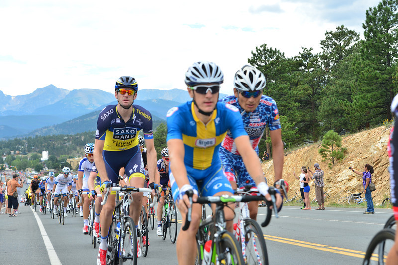 Saxo-Tinkoff's Australian rider Rory Sutherland, left, Swedish National Road champ and Argos-Shimano rider Michael Olsson and US National Road Champion, Fast Freddie Rodriguez churn their way out of Estes Park on Saturday. The race brought the best riders from around the globe to Northern Colorado.