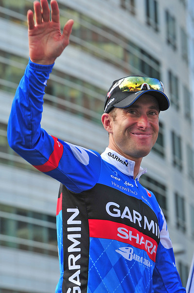 Christian Vande Velde, the 2012 Pro Challenge champion, waves a fond farewell to the Colorado crowd on the podium on Sunday. Vande Velde, who has been a pro racer since 1998.