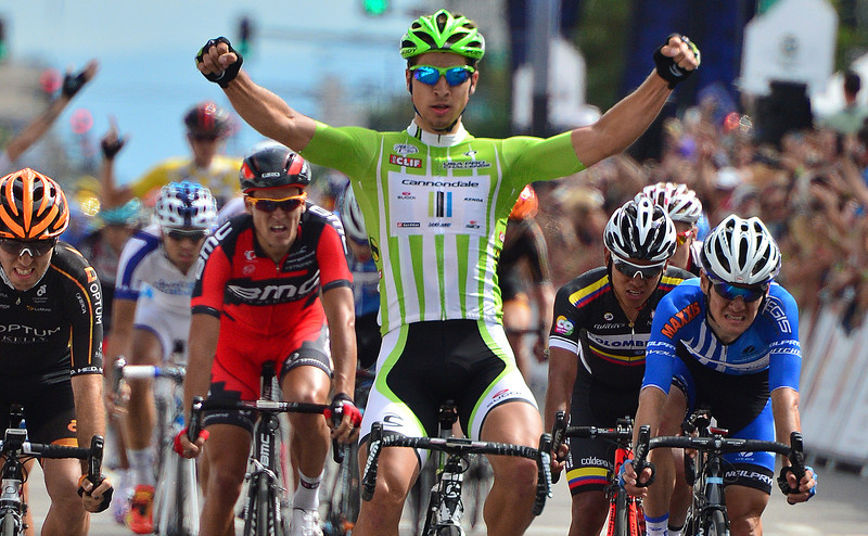 Peter Sagan flashes across the line in Denver wearing the Cliff Bar Points jersey he has held since the first stage of the Pro Challenge. Sagan was not just the best sprinter, his performance on Stage Two in which the young Slovak took third, demonstrated how consistant the rider was, as he has won the eqivilant jersey in California and the Tour de France.