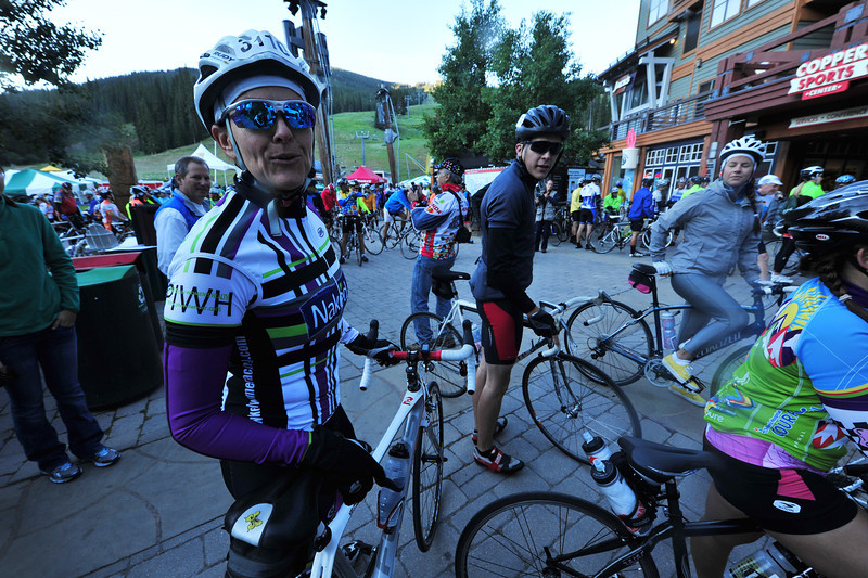Michelle Morovitz sports the colors of the famous Naked Women's Racing cycling team on Saturday morning. Some pro and amateur racers take the opportunity to ride the Courage Classic, as well as show some love for the Children's Hospital Colorado by organizing and raising money and awarness.
