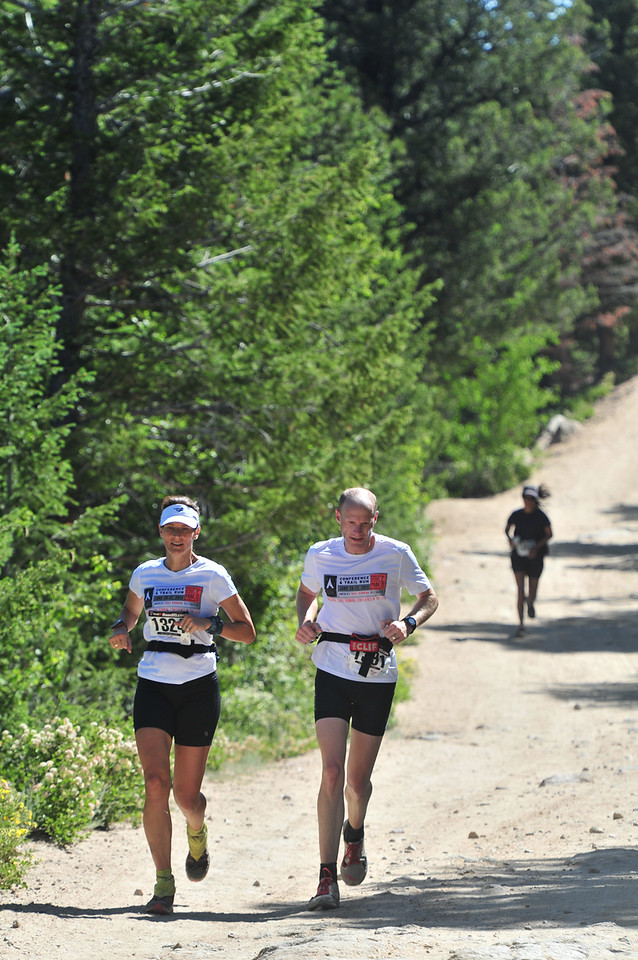 Runners finish up the Ascent Trail Run on Saturday. The second annual run featured stunning views and a challenging course on Pole Hill.