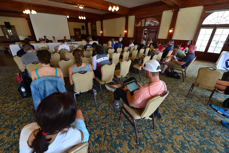 A small, thin, fit crowd listens to a panel at the Stanley Hotel on Thursday. The Ascent Trail Runninf Conference, in its first year, had a great two-day run at the hotel and at Active at Altitude, east of Estes Park.
