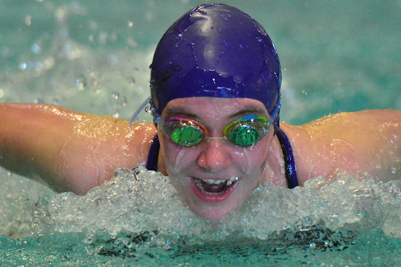 Becca seems to enjoy the 200 yard medley relay on Saturday. The youngster leads the middle school girls with strength and a positive attitude.