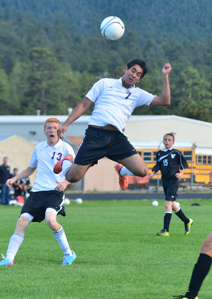 Jorge Morales leaps for a header agains Valley on Thursday. The Bobcats lost to the Vikings 4-2.