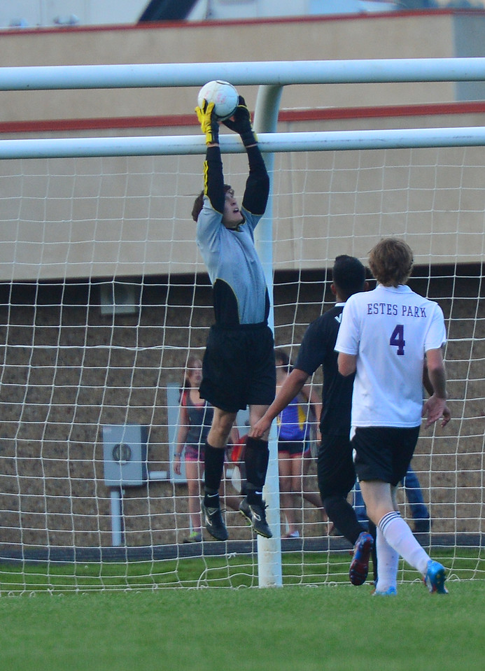 Estes Park goalkeeper Adam Tulley leaps to save a shot in the second half against the Valley Vikings. The Bobcats lost the match 4-2 to the visitors.