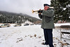 Walt Hester | Trail-Gazette<br /> A bugler plays Taps at the end of the annual Veterans' Day service at the Estes Vally Memorial Gardens on Thursday.