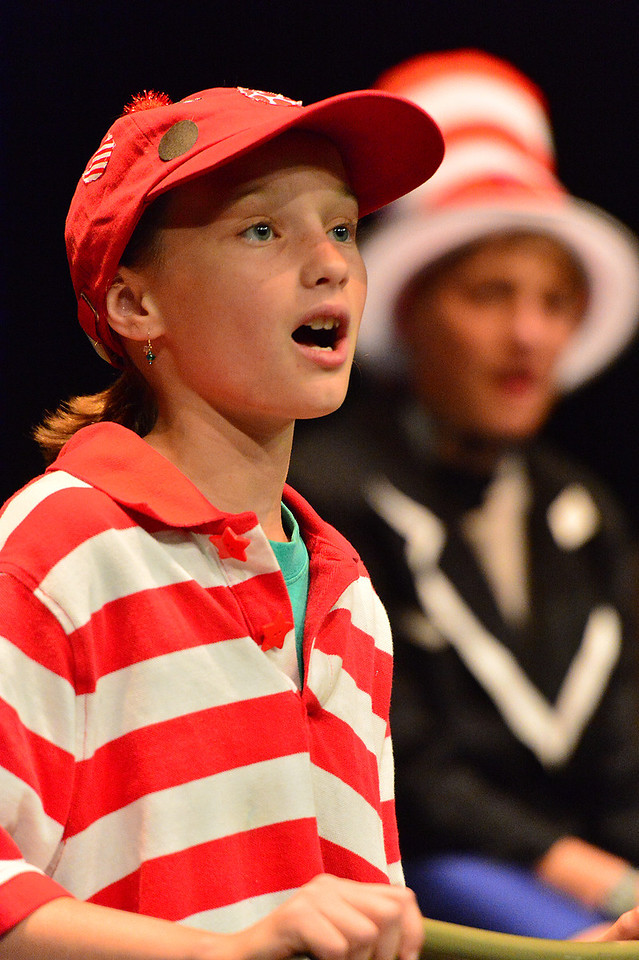 Jojo, a Whoville Who, sings of her situation during Monday's rehearsal. Seussical, Jr is based on the Broadway musical by Lynn Ahrens and Stephen Flaherty, with is a mix of several of Dr. Seuss' best-known books.