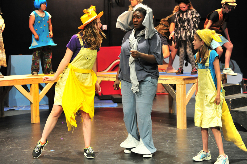 Sour Kangaroo, Olivia Reins, left, and her baby, Daffney Harroff, right, mock poor Horton for hearing things during Seussical, Jr, on Monday. The production is this season's Summer Youth Theater.