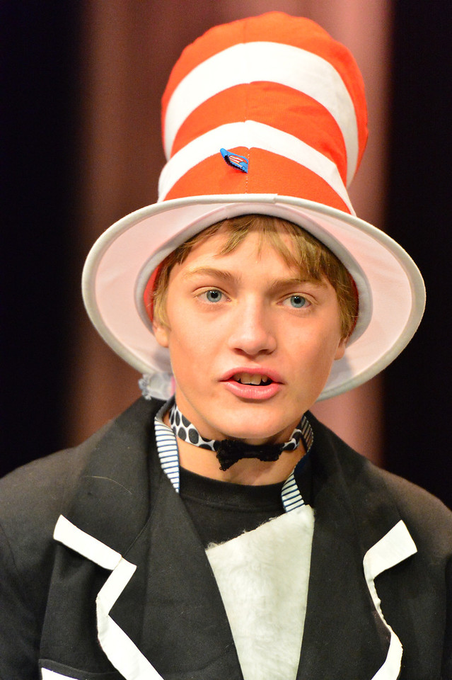 Seth Greer portrais the most famous cat in children's literature at rehearsal for Seussical Jr. on Monday. The Cat in the Hat, Horton the Elephant, Yertle the Turtle and the citizens of Whoville all appear in the Fine Arts Guild production this weekend.