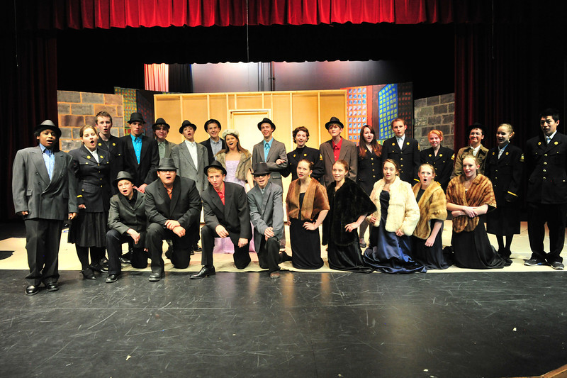 The cast of Estes Park High School's production of Guys and Dolls sing. The production runs from Friday, November 22 to Saturday, November 23.