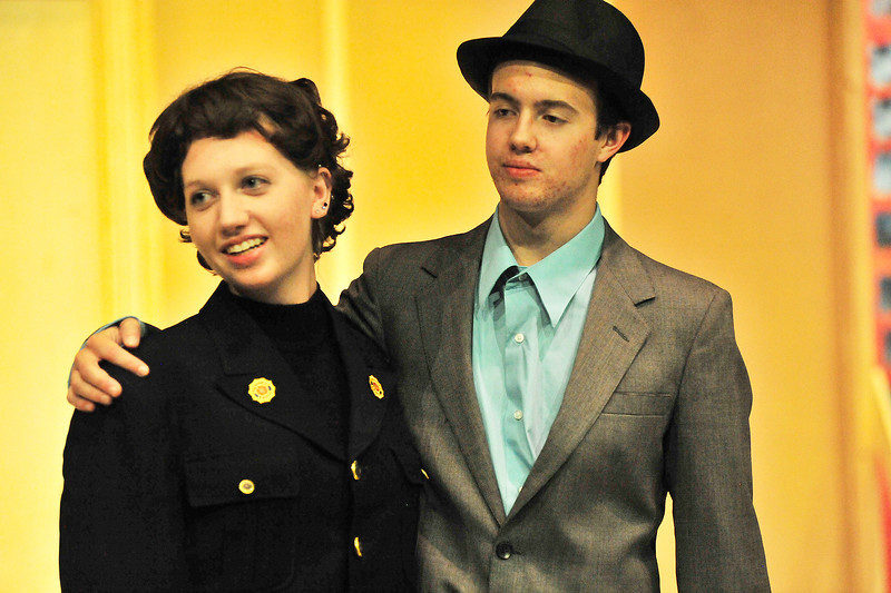 Sarah Brown and Sky Masterson get together during rehersal of Guys and Dolls at the Estes Park High School on Wednesday.