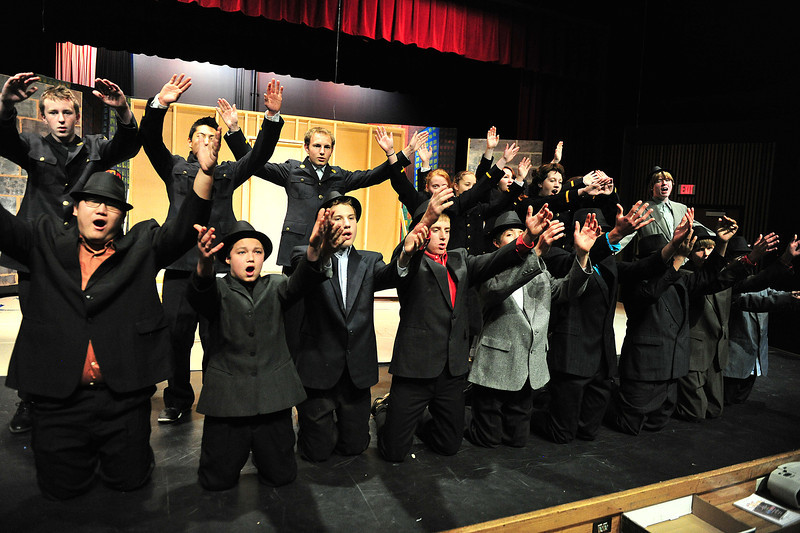 The guys and dolls sing during rehersal on Wednesday. The production runs from Friday, November 22 to Saturday, November 23.
