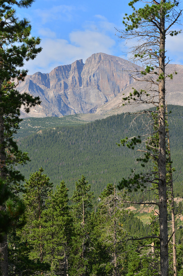 Longs Peak looms over the Tahosa Valley south of Estes Park.