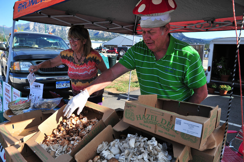Mushroom man Carl Bradbury and wife, Ann, of Zippity Zoo Barnyard on Thursday. The mushroom growers have a good time at their market booth.