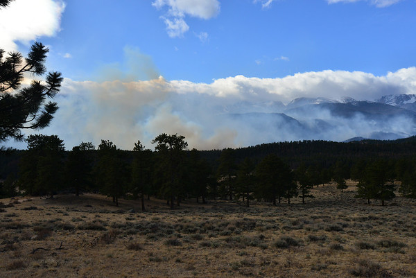 Light and dark smoke are the result of the Friday night flare up of the Fern Lake Fire in Rocky Mountain National Park.