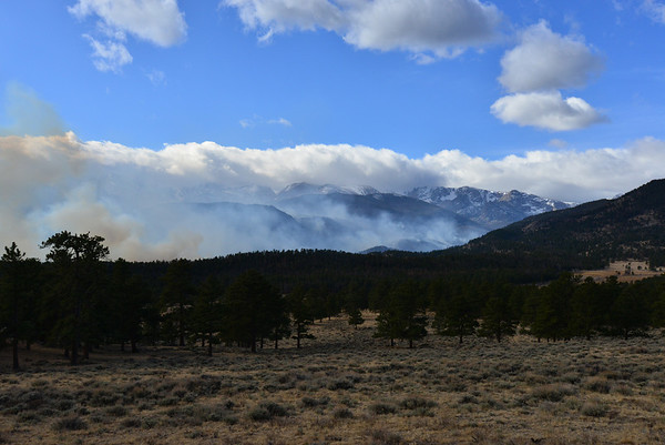 Smoke from the Fern Lake Fire shows the extent of the fire that has been burning in Rocky Mountain National Park since Oct. 9 and flared up overnight, Nov. 30 and Dec. 1 as strong winds hit the area.