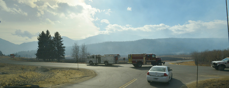 Fire trucks near a staging area below the Moraine Park Visitor Center in Rocky Mountain National Park.