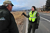 A park ranger updates an Estes Park resident of the progress of the Fern Lake Fire on Saturday. The fire ran to the east overnoight on strong winds that pushed sparks and flames into Moraine Park, prompting evacuations of the YMCA of the Rockies and nieghborhoods west of Mary's Lake Road.